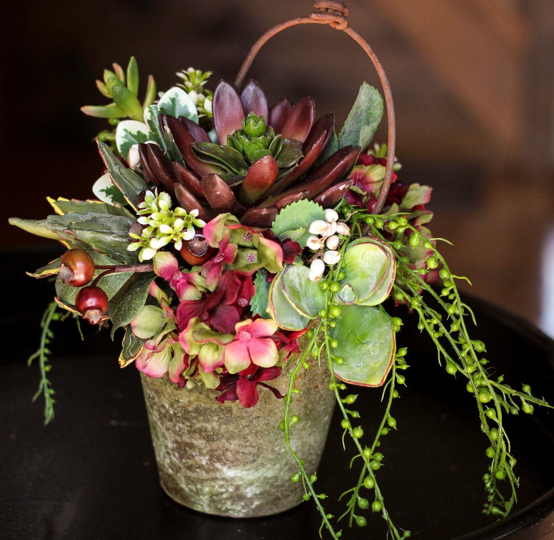Spring Floral Arrangement Artificial Succulent Arrangement