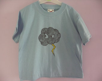 T-shirt - 1 - 2 Years - Angry Cloud - Hand Crafted