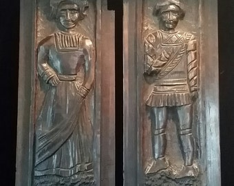 18th Century Wood Carvings Antique Folk Art Carved Oak Wooden Panels Plaques Gothic Antique Wood Carvings Architectural Salvage Wooden Doors