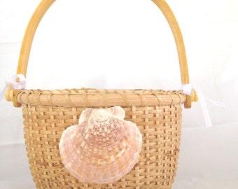 Flower Girl Basket Nantucket style woven open basket scallop shell white ribbons