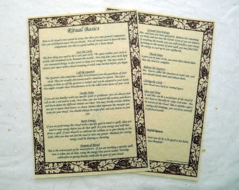 RITUAL BASICS SET parchment poster wicca pagan art witch book of shadows page