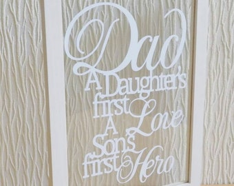 Gorgeous handcut 'dad' papercut in an a4 floating frame