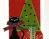 Handmade Christmas Card with a Kitty in a Plaid Bow and a Christmas Tree