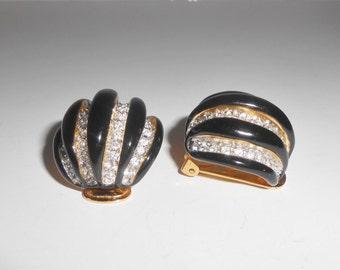 Kenneth Lane Enamel Rhinestone Dome Clip Back Earrings