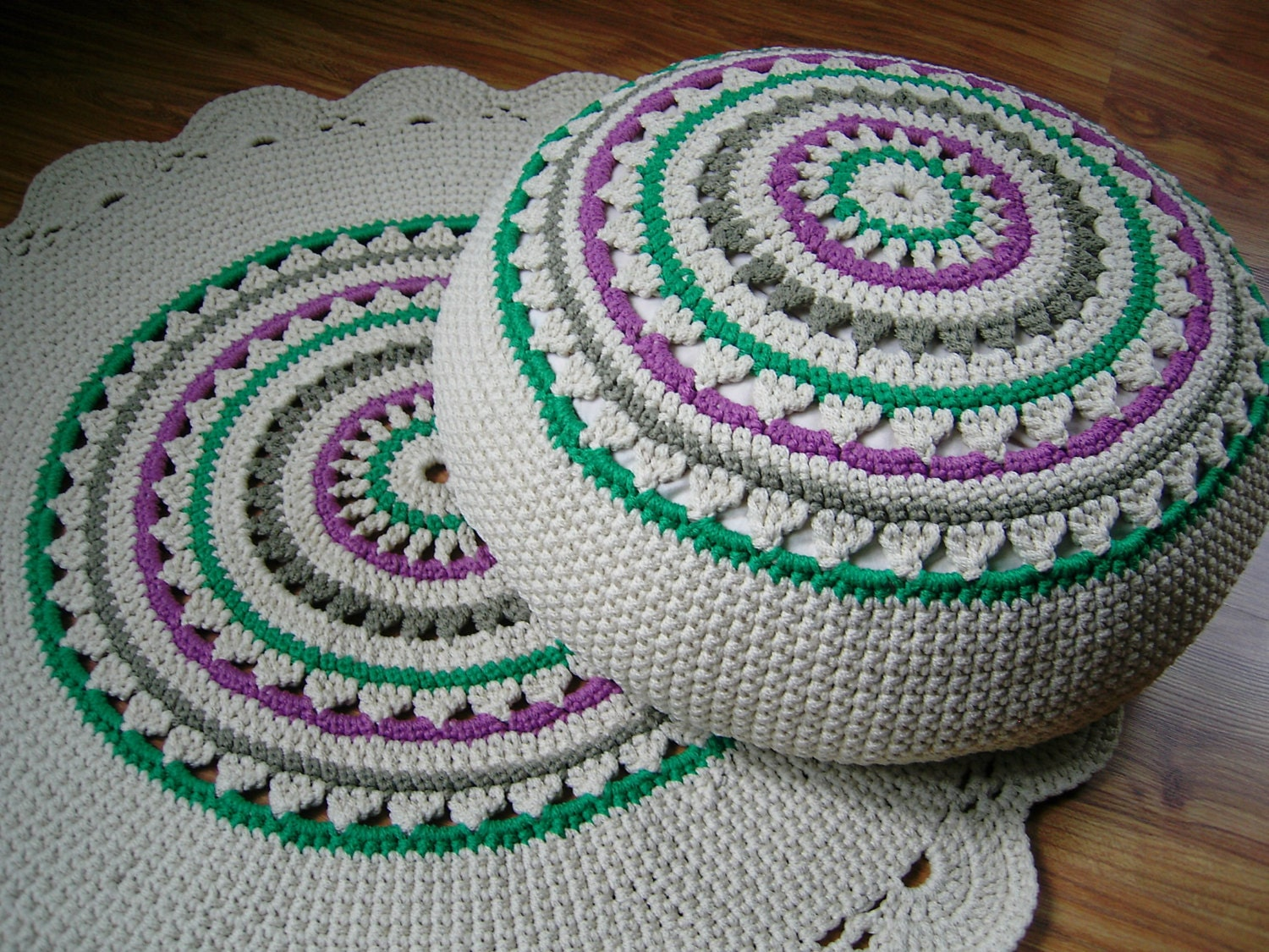Crochet Pouf / Ottoman / Floor Cushion / Eco by CrochetFolkArt