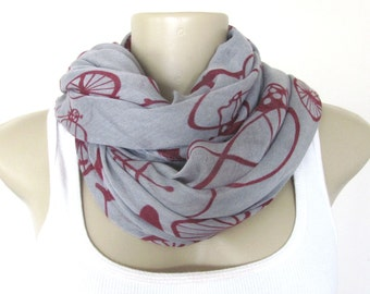 Fashion Scarf Gray and Burgundy Bicycle Large Scarf
