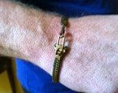 Mens' Vintage Brass Zipper Bracelet