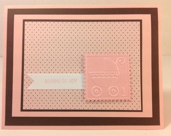 Handmade Greeting Card: Bundle of Joy Baby Girl Card