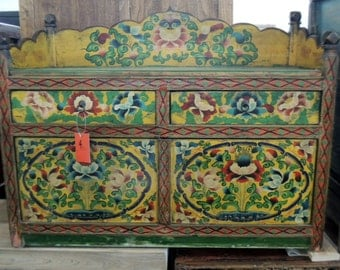 Sale Chinese Storage Bench In Distressed Multi Colors Los