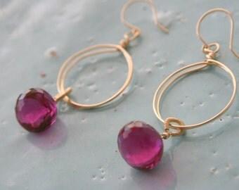 Pink Rubielite Quartz 14k gold filled Hoop Earrings