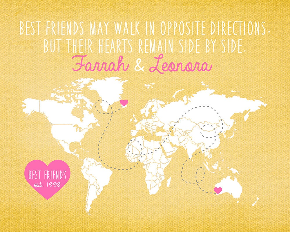 Wedding Gift For Distant Friend : Gift for Friend Long Distance Best Friend World by WanderingFables