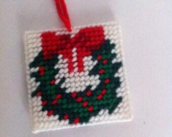 Vintage Christmas Ornament/ cross stitch vintage ornament / Christmas decor / Vintage Christmas