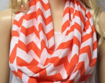 Orange & White Chevron Print  Infinity Scarf   Jersey Knit