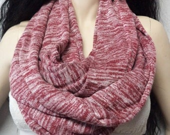Burgundy and White Space dye Infinity Scarf Super Cute & Soft Sweater knit