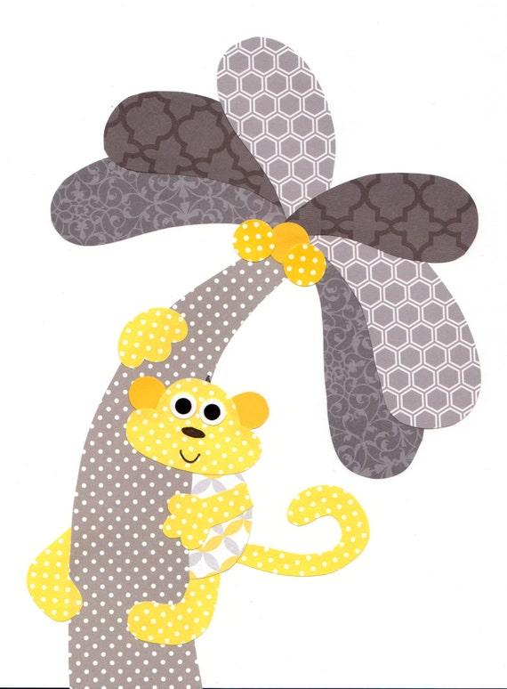 Yellow Grey Monkey Nursery Artwork Print Baby Room Decoration
