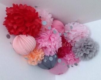 TISSUE POMS & LANTERNS /10 Tissue Paper Pom Poms/5 Paper Lanterns / wedding decorations, birthday, bridal shower, nursery decor, tea party