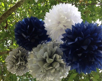 TISSUE PAPER POMS / 15 tissue paper pom poms / wedding decorations, birthday decor, bridal shower, baby shower, nursery decor, nautical