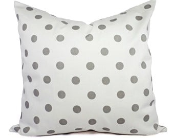 2 Decorative Throw Pillow Covers - Grey and White Ikat Polka Dot Print - Cushion Cover Accent Pillow