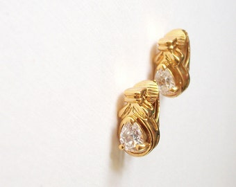 Vintage Rhinestone Earrings Small Bright Gold Tone Clear Pear Shaped Rhinestones Earrings Clip On Earrings Set
