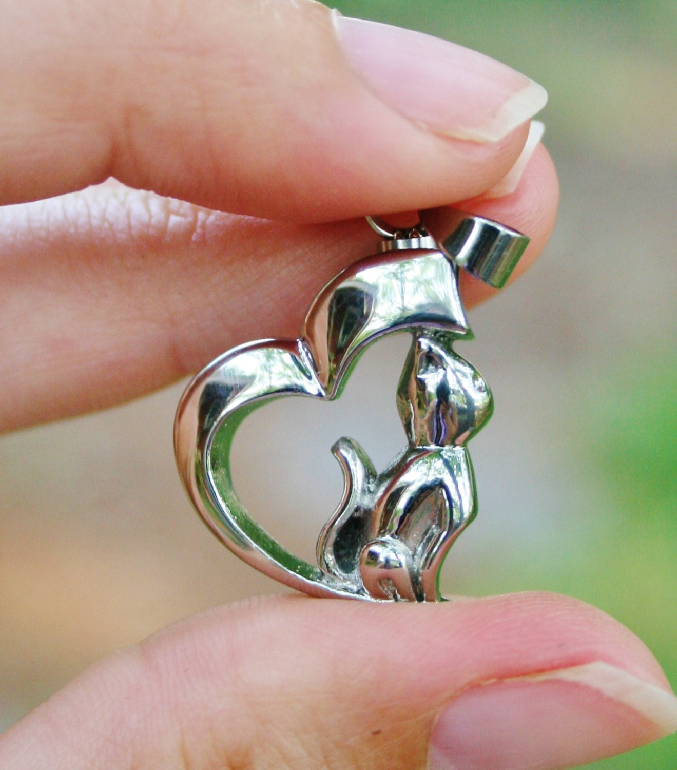 Pet Cat Cremation Jewelry Urn For Ashes PENDANT Or NECKLACE