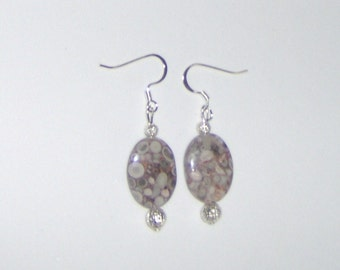 G Fossil Jasper Dangles  Handcraft Oval Pink Fossil Stones with Silver or gold Plate Finding Earrings French Hooks