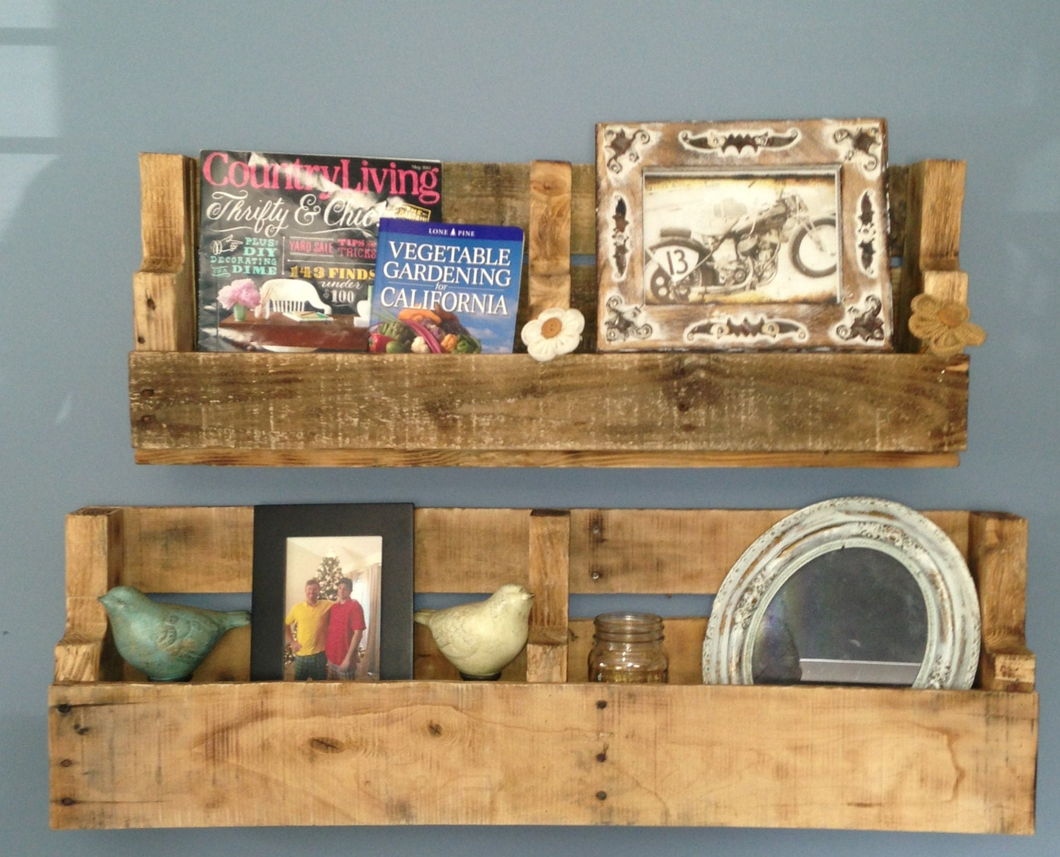 recycled pallet shelves shelf by prettyrough on etsy. Black Bedroom Furniture Sets. Home Design Ideas