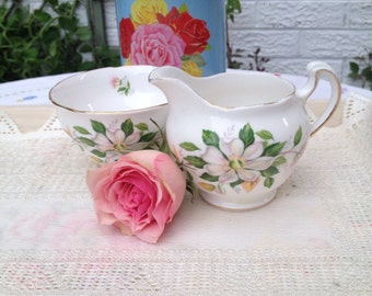 Royal Vale Milk Jug and Sugar Bowl with white lillies. MS045