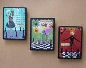 Magnet set original collage print altered art vintage Chess