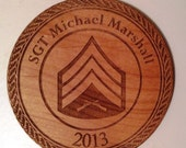 PERSONALIZED USMC Logo Wooden Ornament