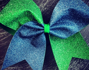 SALE Navy blue and Kelly green glitter cheer bow.
