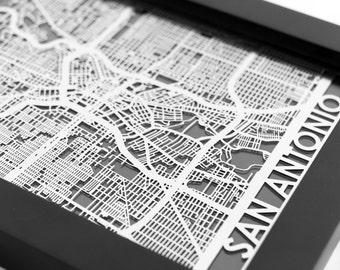 "San Antonio Texas Stainless Steel Laser Cut Map - 5x7"" Framed | Wall Art"