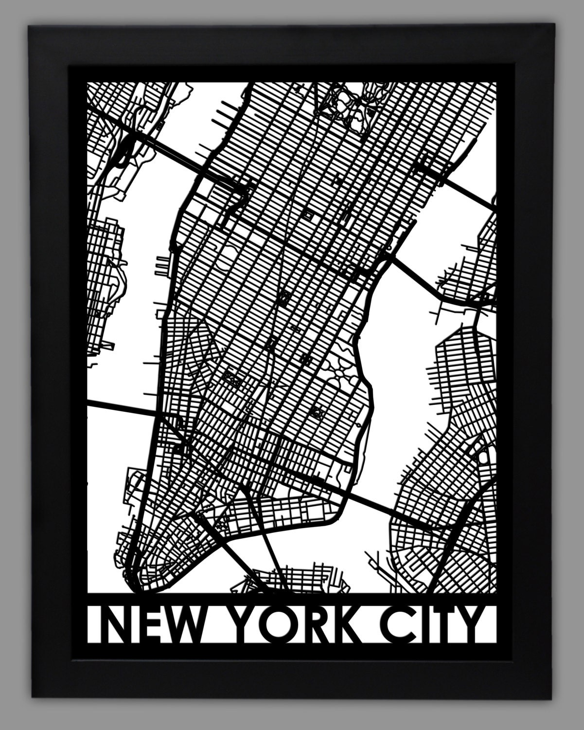 New York City Laser Cut Map X Framed City Map - Nyc map art