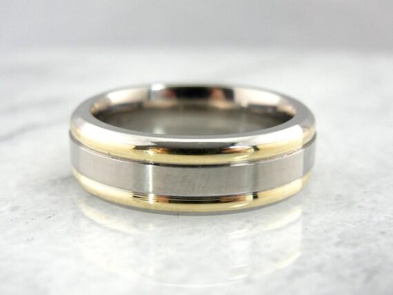 Handsome Titanium Yellow Gold Wedding Band - NK91PR-P