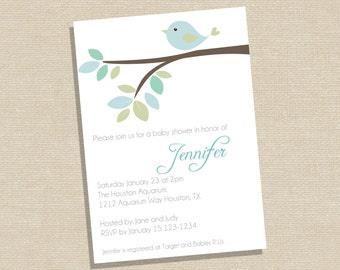 Bird Baby Shower Invitation - Blue Bird Baby Shower - Boy Baby Shower - Printable Baby Shower Invitation