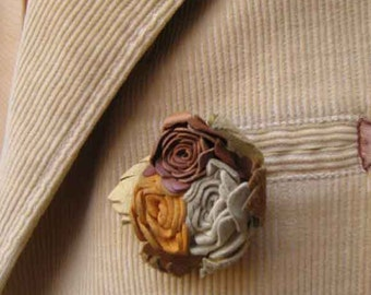 SALE leather rose brooch