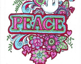 Adult Colouring Page:Peace, Original Digital Download