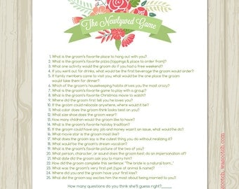 Bridal Shower Newlywed Game Whimsical Floral Instant Download