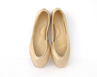 Gold handmade leather ballet flat shoes custom made