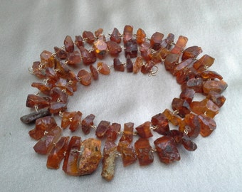 Real Amber in Natural Form Necklace  Vintage Jewelry Vintage Necklace