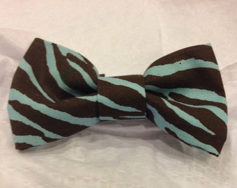 Brown and Baby Blue Bow tie, blue zebra hair bow - zebra bow - pretied bow tie - baby- adult bow tie or hair bow - baby blue and brown Bow