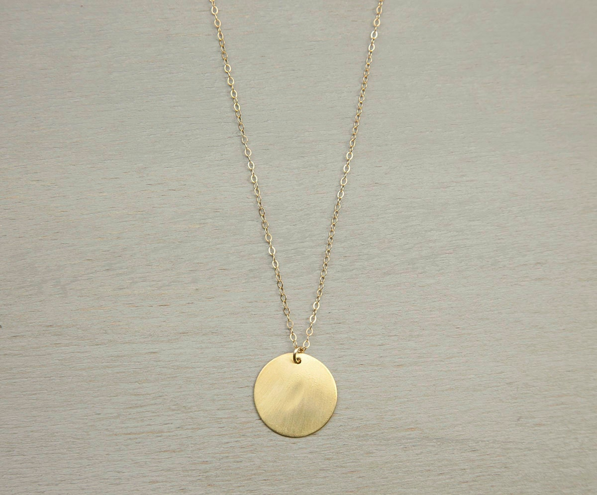 large gold circle necklace simple everyday by layeredandlong. Black Bedroom Furniture Sets. Home Design Ideas