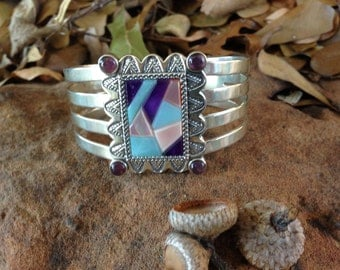 Carolyn Pollack Amethyst Cuff Bracelet With Multi Colored Stones