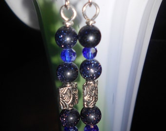 Lucky Fish Blue Goldstone and Swarovski Crystal earrings
