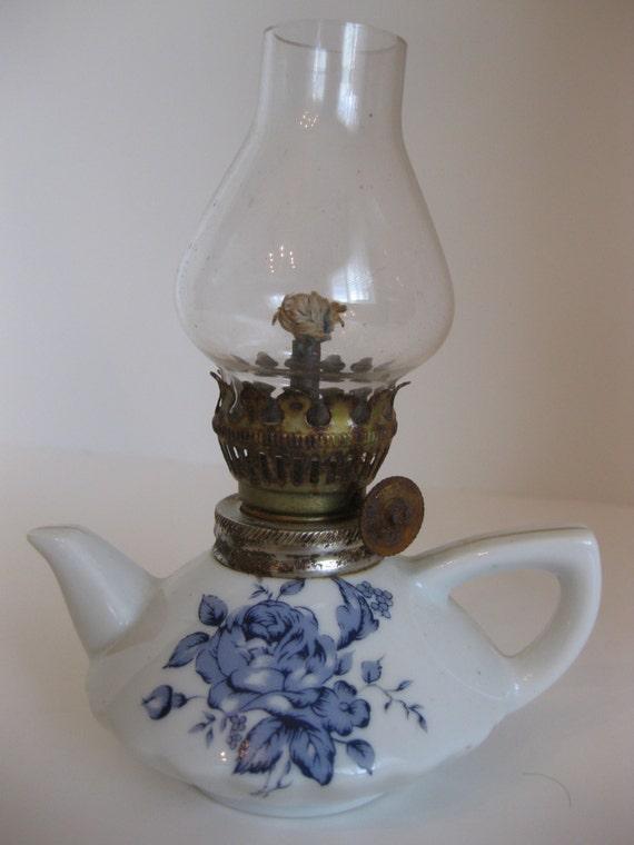Porcelain Teapot Antique Oil Lamp Blue Rose Shabby Chic
