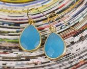 Sea Blue Earrings - Blue Faceted Stone Earrings - Bezel Blue Drop Earrings - Gold Dangle Earrings