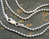 Sterling Silver 2.2mm Ball Chain - Bead chain - SS lobster clasp - bright silver, oxidized lightly or darkly