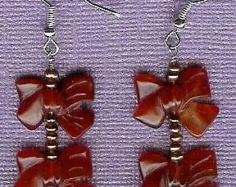 Earrings - Carnelian, Freshwater Pearls, Sterling Silver