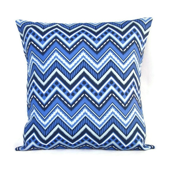 Blue Outdoor Throw Pillow Cover Chevron Home Decor Decorative