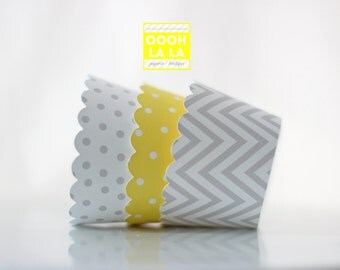 MADE TO ORDER Grey and Yellow Cupcake Wrappers- Set of 12