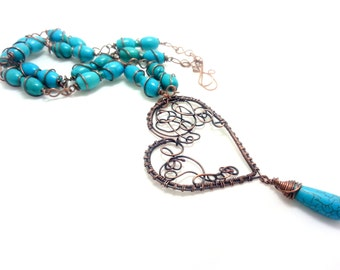 Summer blue necklace with copper and howlite. Wire wrapped jewels. Ethnic necklace